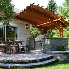 Outdoor Kitchen + Pergola Design Ideas, Pictures, Remodel, and Decor