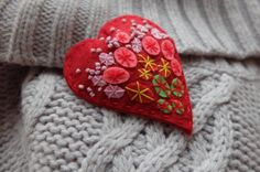 Red heart-felt brooches-Halloween jewelry-christmas by GiftOfFelt