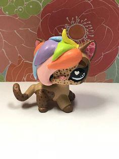 OOAK Custom Littlest Pet Shop Shorthair Cat Rainbow Hair, Freckles, Blue Eyes 💜