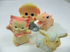 Vintage Children's Squeaky animal Toys Set of Four from the 1950s and 1960s. $17.50, via Etsy.