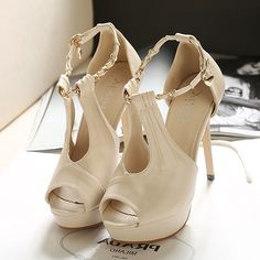 Stiletto High Heels Apricot PU Ankle Strap Sandals