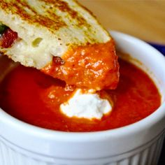 spice sun dried tomato soup with bacon and basil grilled cheese :) yum