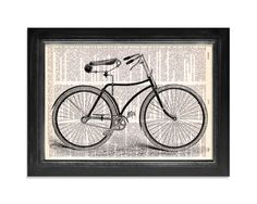 The Lovely Vintage Bicycle Print  by VintageDictionaryArt on Etsy, $9.00