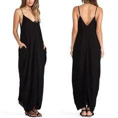Stylish Lady Women's Fashion Sexy Casual Strap V-neck Solid Long Dress