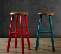 European- style wood barstool restaurant creative round bar chairs bar stool bar stool chairs do the old retro