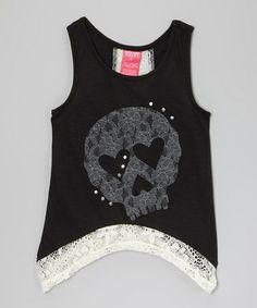 Look at this #zulilyfind! Black Skull Tank - Girls #zulilyfinds