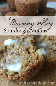 Morning Glory Sourdough Muffins these are a great way to start the day! Mix them up the night before and enjoy fresh tasty sourdough muffins in the morning. - Muffins - Ideas of Muffins Sourdough Muffin Recipe, Sourdough Recipes, Whole Wheat Sourdough Starter Recipe, Sourdough Biscuits, Sourdough Bread Starter, Muffin Recipes, Baking Recipes, Real Food Recipes, Kitchen Recipes
