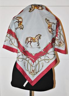Vintage Equestrian Scarf - square scarf - horse print - bordeaux and grey - belts print - italian scarf