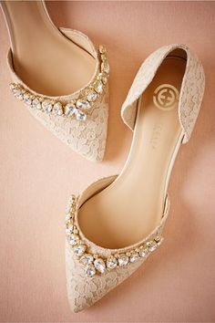 For a touch of glamour, opt for these pointed toe, bejewelled lace flats. For a touch of glamour, opt for these pointed toe, bejewelled lace flats. Lace Flats, Lace Heels, Gold Flats, Strap Heels, Wedding Dress Trends, Wedding Dresses, Bridal Gowns, Prom Shoes, Girls Shoes