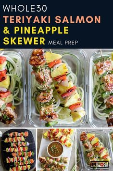 Whole30 recipe: Teriyaki Salmon & Pineapple Skewer Meal Prep recipe! Colorful salmon and pineapple skewers get dressed up with a healthier teriyaki sauce. Get creative and add your favorite vegetables, or alternately, bake everything on a sheet pan for an