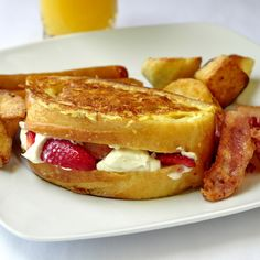 Looking for an indulgent Sunday Brunch idea? How about Strawberry Cointreau Cream Cheese Stuffed French Toast?