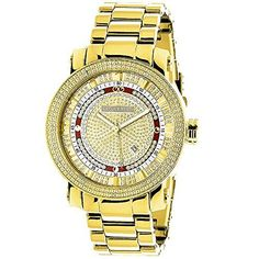 Unique Large Mens Diamond Watch 18k Yellow Gold Plated by Luxurman 0.12ct  #0.12CT #Diamond #gold #Large #Luxurman #Men's #Plated #Unique #Watch #yellow MonitorWatches.com