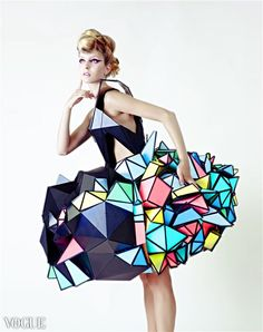 Cubism-inspired fashion from Vogue.