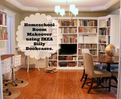 Homeschool Room built-ins using IKEA Billy Bookcases