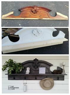 Use the top of a china hutch and turn it into an entryway coat rack!
