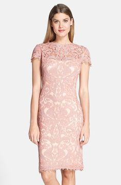 Tadashi Shoji Illusion Yoke Lace Sheath Dress | Nordstrom