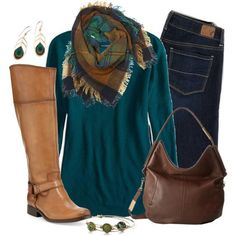 #fall #outfits / Plaid Scarf + Tall Boots