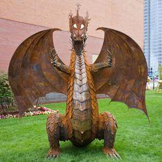 Dragon by Keith Coleman Yard Sculptures, Sculpture Art, Dragon Dreaming, Welding Art Projects, Dragon Artwork, Metal Garden Art, Dragon Pictures, Scrap Metal Art, Fantastic Art