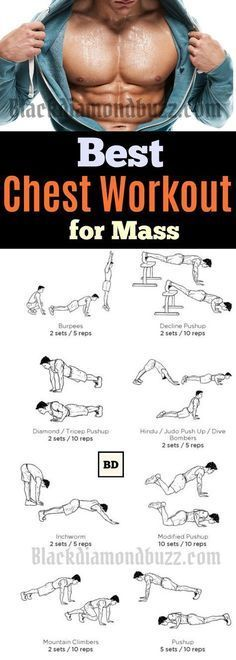 """Chest Workout Routine for Mass - 10 Best Chest Workout for Men at Home. These chest exercise it will help you to get a bigger and perky chest. It is most men's dream to have a powerful looking upper body. It is common to hear questions like, """"how do you increase your chest size"""", or how do I build my chest muscles without weights?"""""""