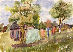 ACEO Clothes Line Miniature Art Card, Landscape, Original Watercolor, B. Jones #Miniature