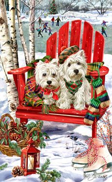 """New for 2010! SORRY SOLD OUT West Highland Terrier Christmas cards are 8 1/2"""" x 5 1/2"""" and come in packages of 12 cards. One design per package. All designs include envelopes, your personal message, and choice of greeting. Select the inside greeting of your choice from the menu below.Add your personal message to the Comments box during checkout."""