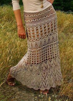 Algumas inspirações de saias longas de crochê.