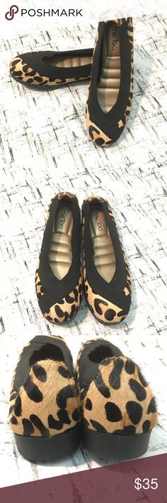 NWT Me too leopard Hair calf leather flat The fashion-forward and unfussy Barbara flat from Me Too is the shoe you'll reach for again and again. The eye-catching elastic band around the counter lets you put them on with ease and creates a contemporary-looking counterpoint to the calf-fur upper. The result is an everyday design that's flat-out fabulous.  • Ladies medium width  • Calf-fur upper; leather/man-made balance  • Elastic band around the counter  • Toe: Closed, oval  • Insole: Padded…