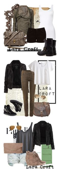 """Lara Croft"" by unarmariodecine ❤ liked on Polyvore featuring Franklin, Rick Owens, Proenza Schouler, Oasis, Fiorentini + Baker, Club Manhattan, angelina jolie, tomb raider, lara croft and AllSaints"