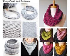 Three easy cowl knit patters with free downloads. Easy to make and wear or give them as gifts this holiday.