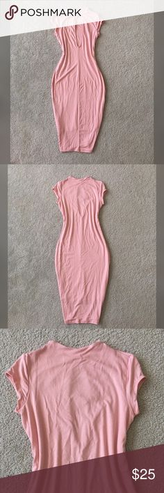 Open back blush dress !!! New with tag summer dress! Super stretchy fashionable and so trendy!!! Comes pencil style and knee length!! Size L but runs like M-L!!!YOU WILL LOVE IT Dresses Midi