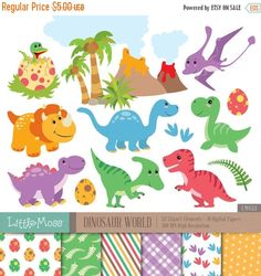 30% OFF SALE Dinosaur Digital Clipart and Papers by LittleMoss