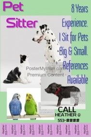 pet sitter flyer announcement poster pet sitter pinterest