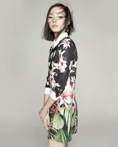 c9bf42ab206812 Ted Baker London Mirrored Tropics Dress with Three-Quarter Sleeves  Contemporary Fashion