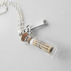 Items similar to Alice in Wonderland Message in a Bottle Necklace with Key charm Silver Chain Disney Fairy tale Pendant secret message scroll drink me vial= on Etsy Bottle Jewelry, Bottle Charms, Bottle Necklace, Diy Jewelry, Jewelry Making, Chain Jewelry, Silver Jewelry, Jewelry Necklaces, Handmade Jewelry
