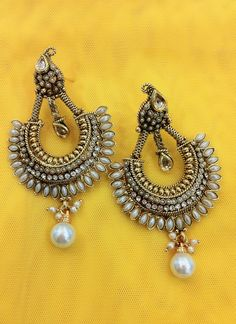 Avaliable at Zari & Zevar -Kundan Pearl Earring for $29.99 www.zariandzevar.com