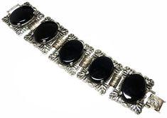 Vintage Victorian Wide Bracelet  Gothic Black by thejewelseeker