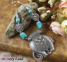 NR139 Bohemian Gypsy Tibetan Silver Elephant Turquoise Pendant vintage choker necklace chain jewelry gift(China (Mainland))