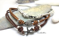 Leather Anklet, Leather Bracelet, Boho Jewelry, Ankle Bracelet, Beach Jewelry, Unisex Jewelry, Shell Anklet, Boho Anklet, Boho Jewelry, Gift
