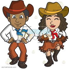 A Happy Couple Dancing The Two Step:   A black man with curly hair wearing a red cowboy hat white dress shirt brown belt with silver buckle brown pants with fringe blue necktie black shoes smiles while dancing with a woman wearing a khaki with yellow cowboy hat white dress shirt red tie brown gloves belt skirt with fringe and a pair of black boots who looks very happy Brown Pants, Brown Belt, Red Cowboy Hat, Red Shirt Dress, Happy Couples, Couple Cartoon, Skirt Belt, Curly Hair Men, Vector Illustrations