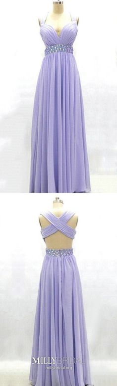 A Line Prom Dresses Lavender, Long Formal Evening Dresses Chiffon, V Neck Military Ball Dresses Open Back, Empire Pageant Graduation Party Dresses Beading Open Back Prom Dresses, Formal Dresses For Teens, A Line Prom Dresses, Nice Dresses, Dress Formal, Homecoming Dresses, Party Dresses, Dress Long, Prom Gowns