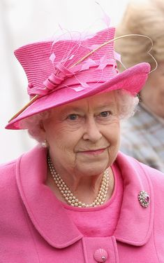 Queen Elizabeth II--by far, the BEST pic I have ever seen of her. Pink is her color!