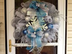 Deco Mesh Silver and Blue Christmas Wreath by WreathsEtc on Etsy