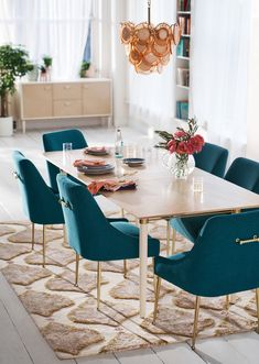 25 Trending Dining Room Decor Inspirations For Spring 2019 - Home Design Modern Dining, Extension Dining Table, Velvet Dining Chairs, Room Design, Interior, Dining Room Decor, Dining Room Table, Dining Chairs, Dining Room Table Decor