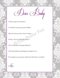 PRINTABLE Baby Shower Game Damask Floral Digital by ThePoliteFox