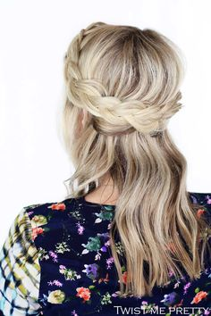 A beautiful crown braid made from two laced braids combined in the back. This gorgeous style takes only a few minutes to do and comes with a how-to video.