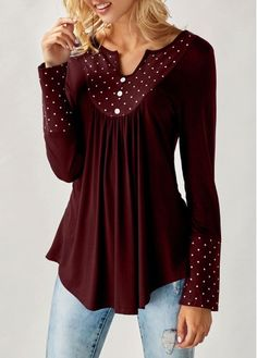 Polka Dot Print Split Neck Wine Red Blouse | liligal.com - USD $26.72