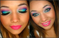 Neon Makeup Tutorial! AWSOME COLORS