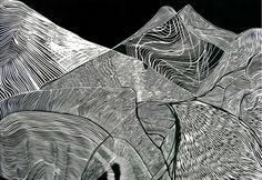 "Sierra Nevada, 36"" x 24"" Lino-cut 2011 by Hilary Lorenz"