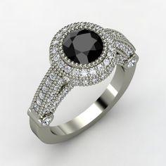 Round Black Diamond 14K White Gold Ring with Diamond | Vanessa Ring | Gemvara