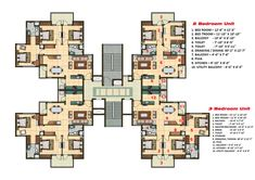 Photoshop rendered presentation drawing of a High rise building tower/cluster layout, has got 1 nos. of 2 bhk and 3 nos. of 3 bhk apartment with separate dress and puja area. Apartment Floor Plans, Apartment Projects, Apartment Layout, Apartment Design, Residential Building Plan, Building Design Plan, Building Layout, 2bhk House Plan, 3d House Plans
